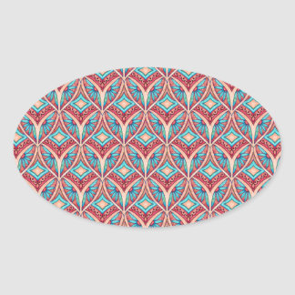 Ogee Floral Oval Sticker