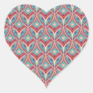 Ogee floral pegatina en forma de corazón