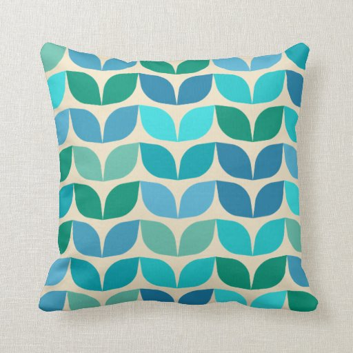 Ogee Petals Throw Pillow with Blue Reverse