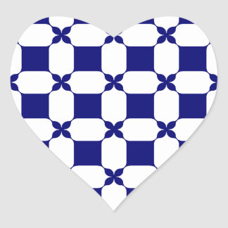 Ogee White & Navy.png Heart Sticker