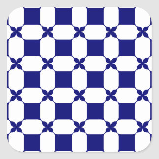 Ogee White & Navy.png Square Sticker