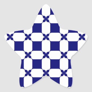 Ogee White & Navy.png Star Sticker