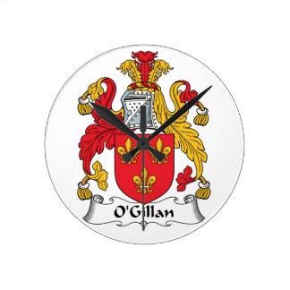 O'Gillan Family Crest Round Clocks