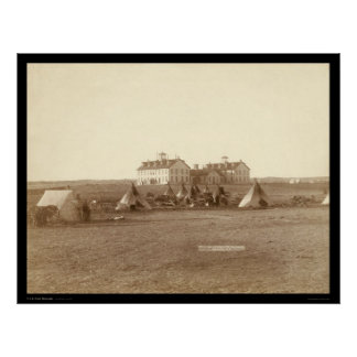 Oglala School & Indian Camp Pine Ridge SD 1891 Print