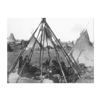 Oglala Women and Children inside Tipi Gallery Wrapped Canvas