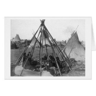 Oglala Women and Children inside Tipi Card