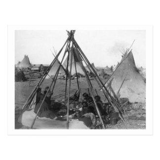 Oglala Women and Children inside Tipi Postcard