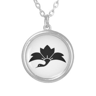 Ogre flower water caltrop crane silver plated necklace