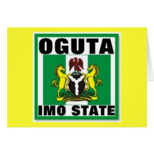 Oguta, la OMI indica, camiseta de Nigeria Tarjetón