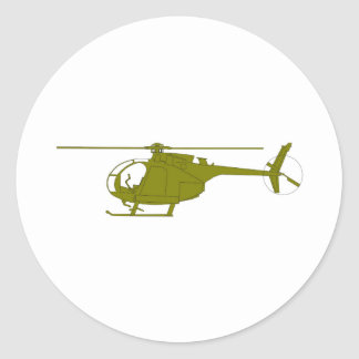 OH-6A Observation Helicopter Classic Round Sticker