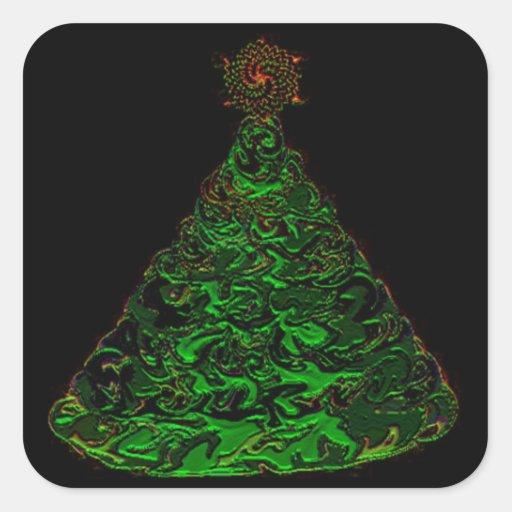 Oh árbol de navidad pegatina cuadrada