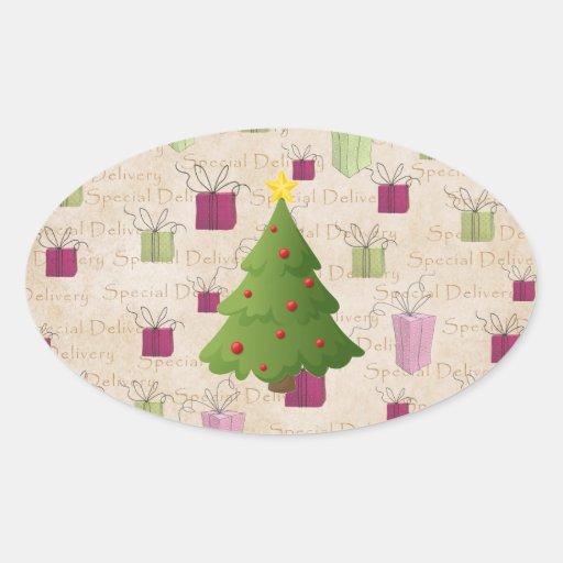 Oh árbol de navidad pegatina ovalada