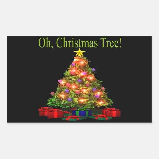 Oh árbol de navidad pegatina rectangular