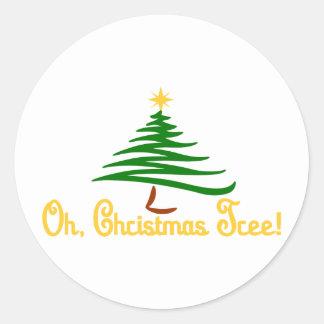 Oh, árbol de navidad pegatina redonda
