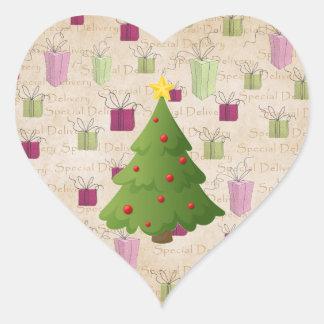 Oh árbol de navidad pegatina de corazón personalizadas
