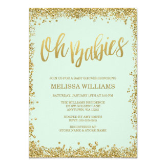 oh babies mint gold glitter baby shower card - Mint And Gold Wedding Invitations