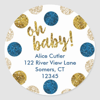 Oh Baby Address Label, Navy and Gold Glitter Classic Round Sticker