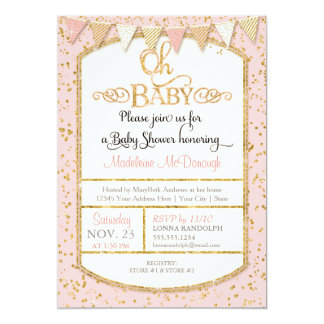 OH Baby Baby Girl Shower Typography Gold Glitter Card