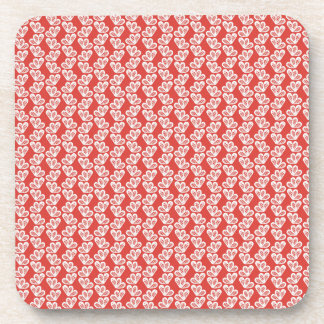 oh-baby-baby red white floral design patterns back beverage coaster