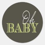 Oh Baby | Baby Shower Round Stickers