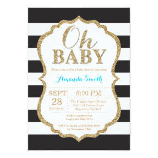 Black gold baby shower invitations announcements zazzle oh baby black and gold baby shower invitation filmwisefo
