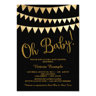 Oh Baby Black Gold Gender Neutral Baby Shower Card