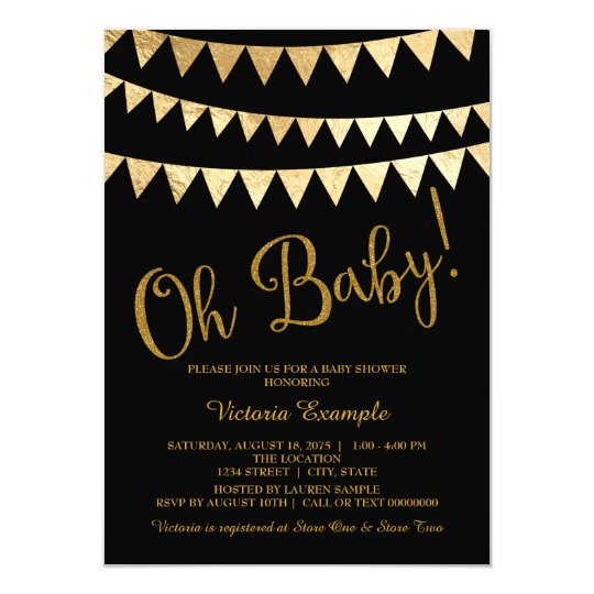 Good Oh Baby Black Gold Gender Neutral Baby Shower Card