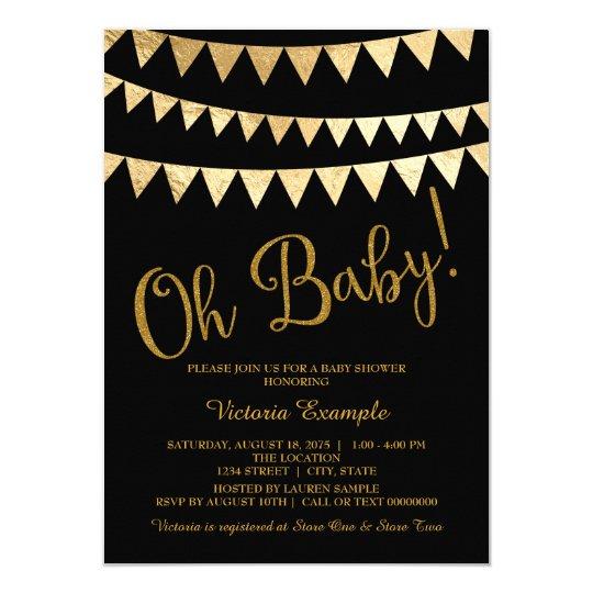 Oh Baby Black Gold Gender Neutral Shower Invitation