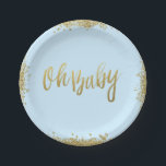 "Oh Baby Blue Faux Gold Glitter Baby Shower Paper Plate<br><div class=""desc"">Chic light blue and faux gold glitter baby shower paper plates. Designs are flat printed illustrations/graphics - NOT ACTUAL GOLD GLITTER.</div>"