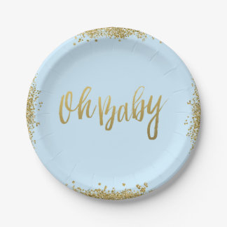 Oh Baby Blue Faux Gold Glitter Baby Shower Paper Plate