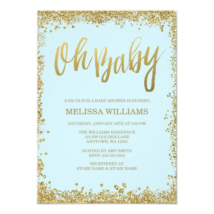 baby blue and gold baby shower card – unitedarmy, Baby shower invitations