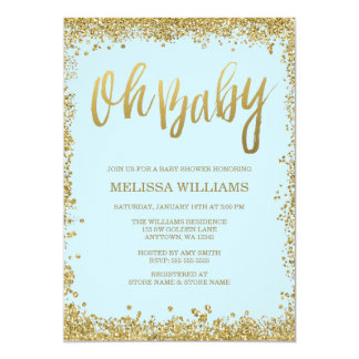 Oh Baby Blue Gold Glitter Baby Shower Card