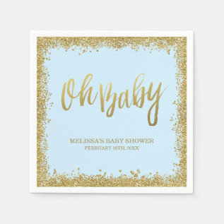 Oh Baby Blue Gold Glitter Baby Shower Paper Napkin at Zazzle