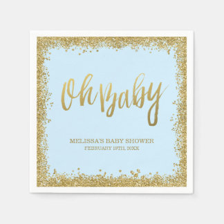 Oh Baby Blue Gold Glitter Baby Shower Paper Napkin