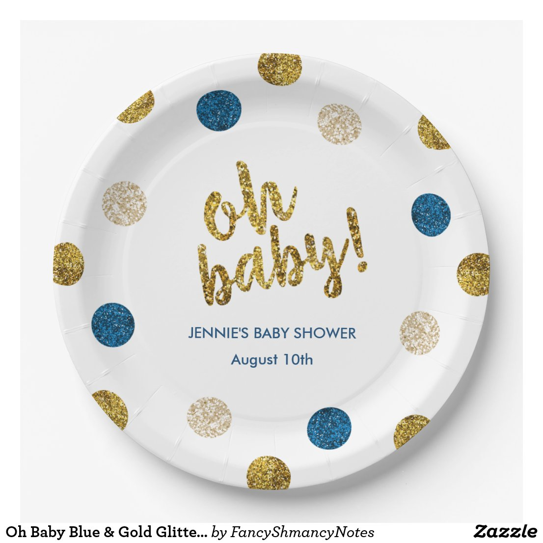 Oh Baby Blue & Gold Glitter Baby Shower Paper Plate