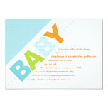 Oh Baby Blue | Orange Modern Baby Shower 5x7 Paper Invitation Card