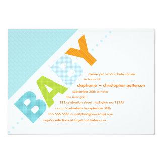 Oh Baby Blue   Orange Modern Baby Shower 5x7 Paper Invitation Card