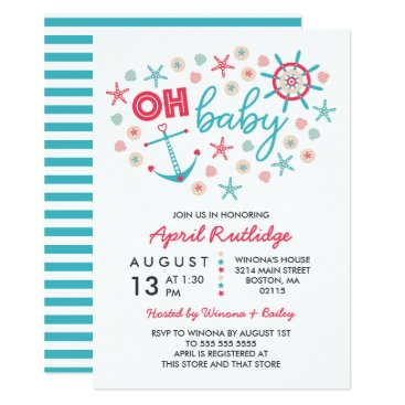 Beach Themed Oh Baby Blue & Red Nautical Baby Shower Card