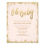 Oh Baby Blush Pink Gold Glitter Baby Shower 4.25x5.5 Paper Invitation Card