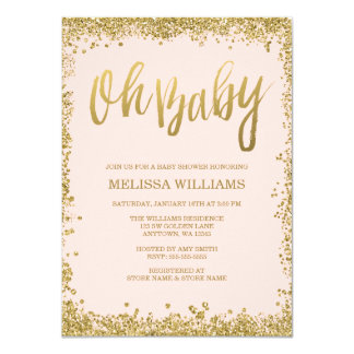 Oh Baby Blush Pink Gold Glitter Baby Shower 4.5x6.25 Paper Invitation Card