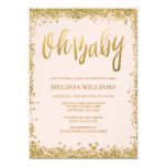 Oh Baby Blush Pink Gold Glitter Baby Shower 5x7 Paper Invitation Card