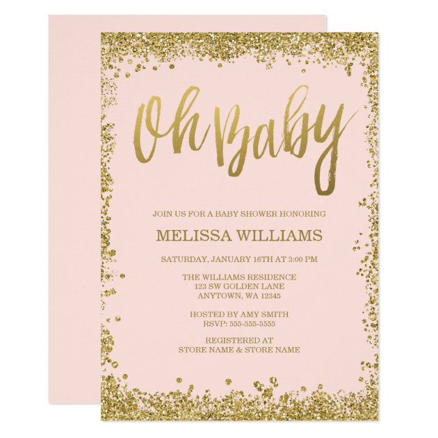 pink and gold invitations & announcements | zazzle, Baby shower invitations