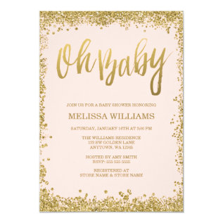 Oh Baby Blush Pink Gold Glitter Baby Shower Card at Zazzle