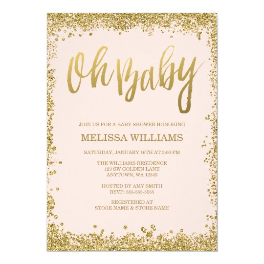 oh baby blush pink gold glitter baby shower card | zazzle, Baby shower invitations