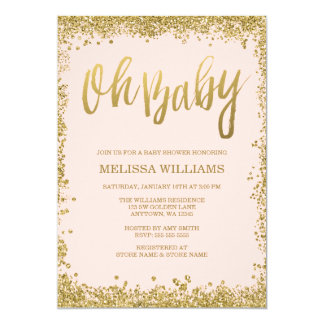 Oh Baby Blush Pink Gold Glitter Baby Shower Invitation