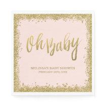 Oh Baby Blush Pink Gold Glitter Baby Shower Paper Napkin