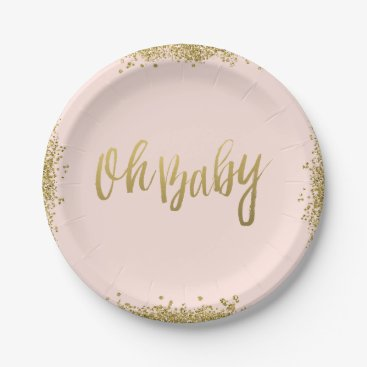 Toddler & Baby themed Oh Baby Blush Pink Gold Glitter Baby Shower Paper Plate