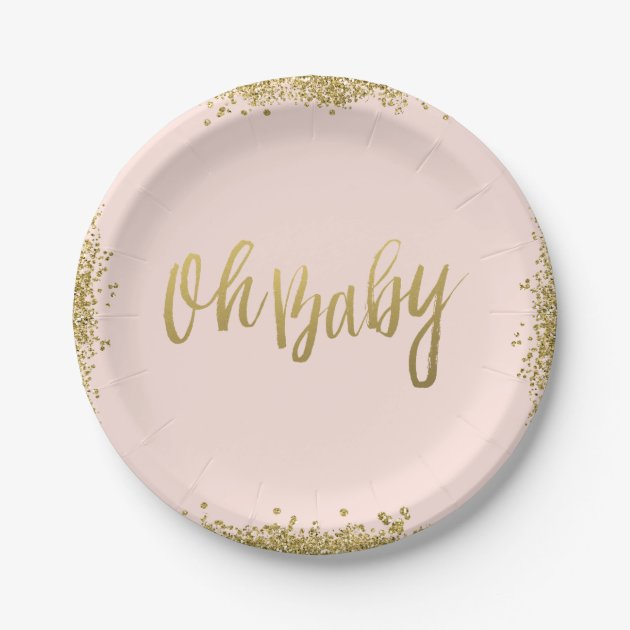 Oh Baby Blush Pink Gold Glitter Baby Shower Paper Plate   Zazzle