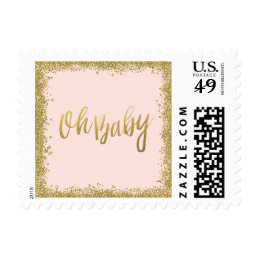 Oh Baby Blush Pink Gold Glitter Baby Shower Postage