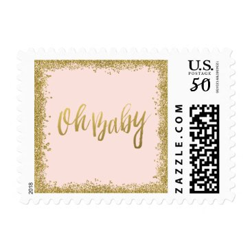 Toddler & Baby themed Oh Baby Blush Pink Gold Glitter Baby Shower Postage